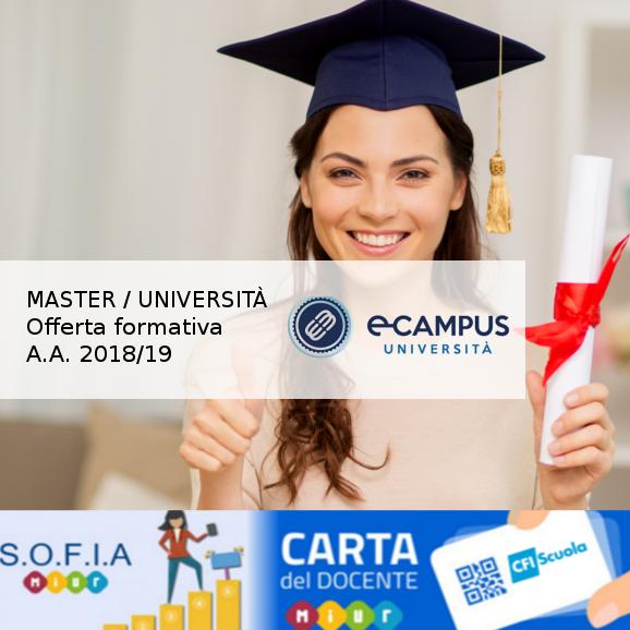 Master, Corsi di perfezionamento e Biennali on-line! Scopri la nostra proposta in collaborazione con ECampus